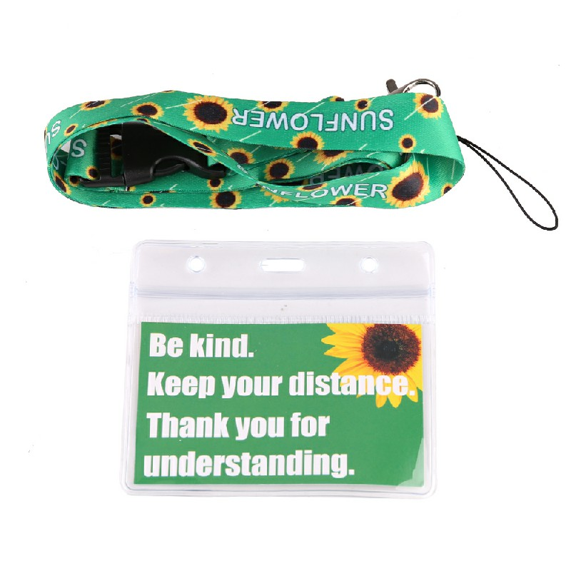 Face Covering Mask Exemption PVC Card Hidden Disabilities with Sunflower Lanyard.