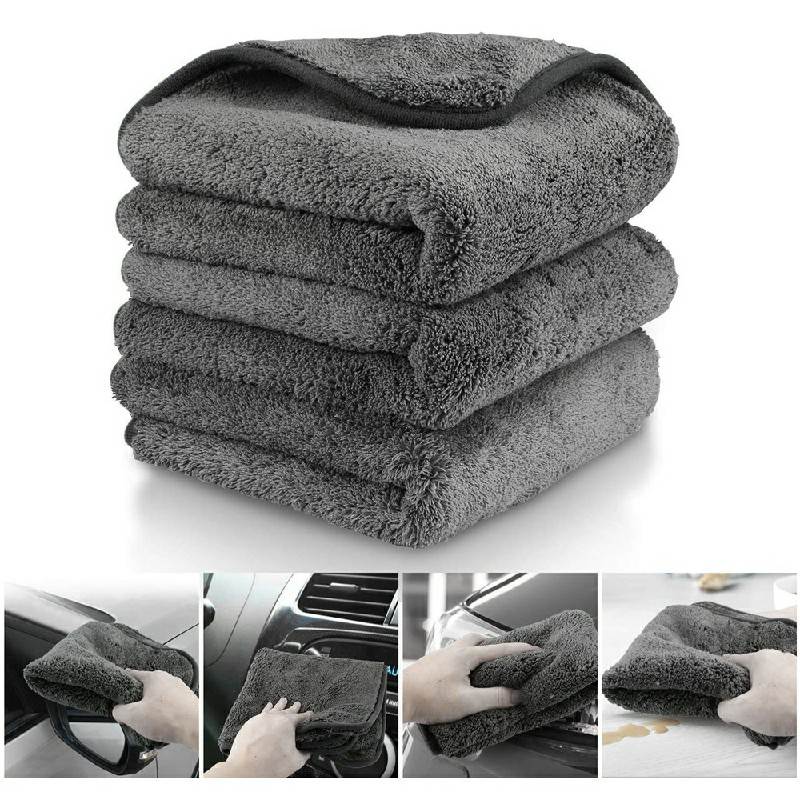 3 pcs Microfiber Car Detailing Towels Car Cleaning Drying Washing Cloths 1200gsm - Black Edge.