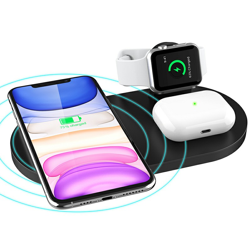3 in 1 Wireless 10W Qi Fast Charger Station with iWatch Stand for iPhone Airpods and iWatch - Black