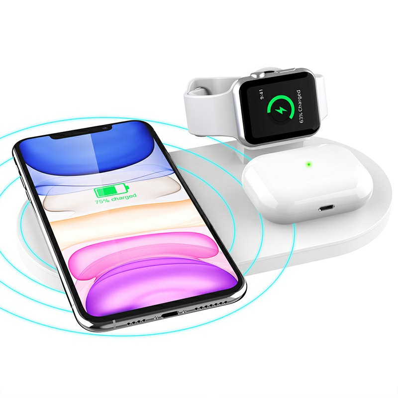 3 in 1 Wireless 10W Qi Fast Charger Station with iWatch Stand for iPhone Airpods and iWatch - White