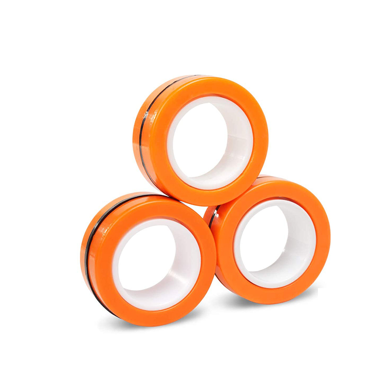 Magnetic Bracelet Ring Unzip Magical Ring Props Tools Decompression Product Anti-Stress - Orange