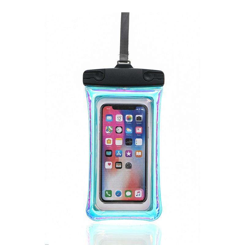 Universal 7.2 inch Waterproof Phone Pouch Glowing Bag - Black