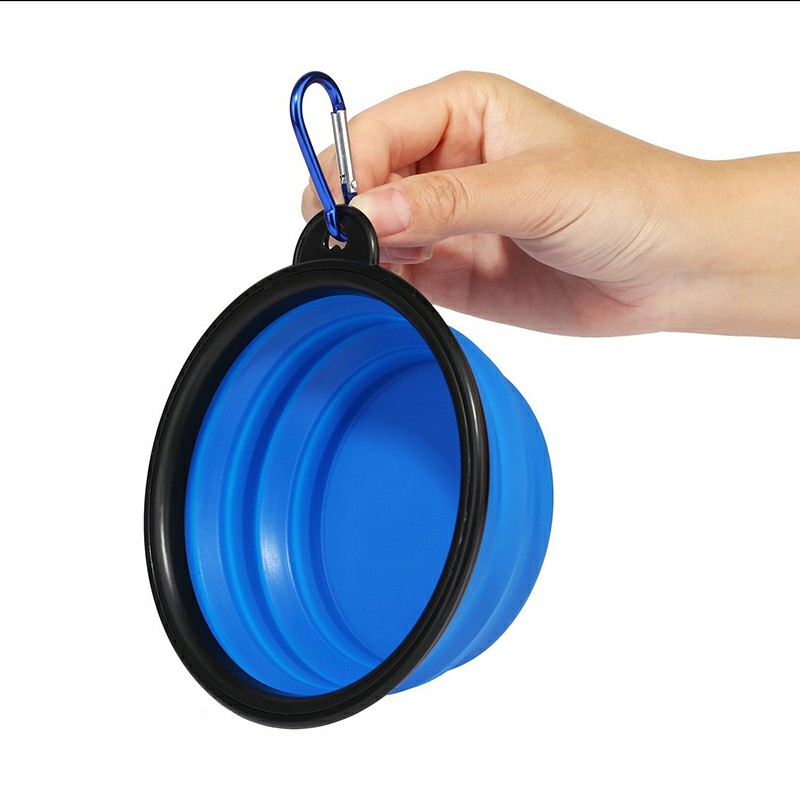 Pet Dog Cat Silicone Collapsible Feeding Bowl Travel Portable Bowl with Metal Buckle - Blue