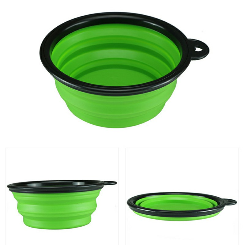Pet Dog Cat Silicone Collapsible Feeding Bowl Travel Portable Bowl with Metal Buckle - Green