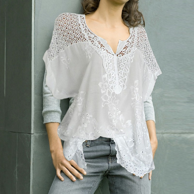 Plus Size Womens V Neck Lace Tops Shirt Ladies Summer Casual Blouse Pullover Tee - White 2XL