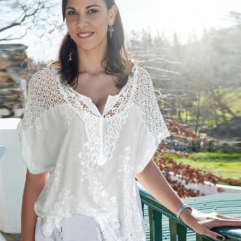 Plus Size Womens V Neck Lace Tops Shirt Ladies Summer Casual Blouse Pullover Tee - White 5XL