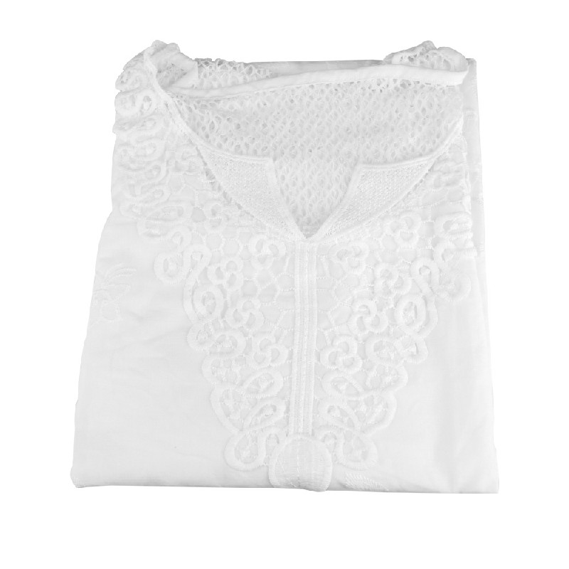 Plus Size Womens V Neck Lace Tops Shirt Ladies Summer Casual Blouse Pullover Tee - White 6XL