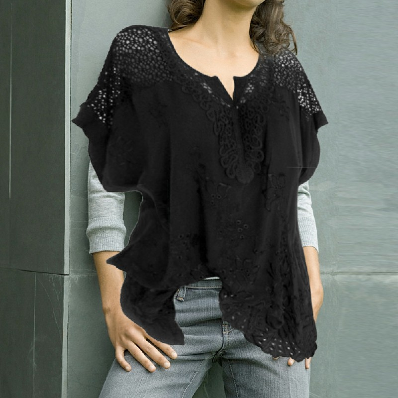 Plus Size Womens V Neck Lace Tops Shirt Ladies Summer Casual Blouse Pullover Tee - Black 2XL