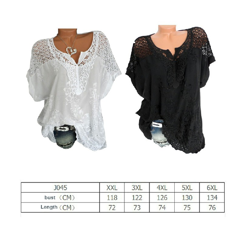 Plus Size Womens V Neck Lace Tops Shirt Ladies Summer Casual Blouse Pullover Tee - Black 3XL