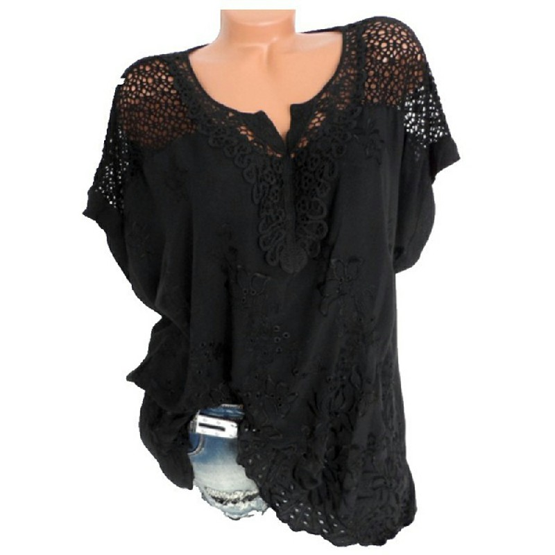 Plus Size Womens V Neck Lace Tops Shirt Ladies Summer Casual Blouse Pullover Tee - Black 5XL