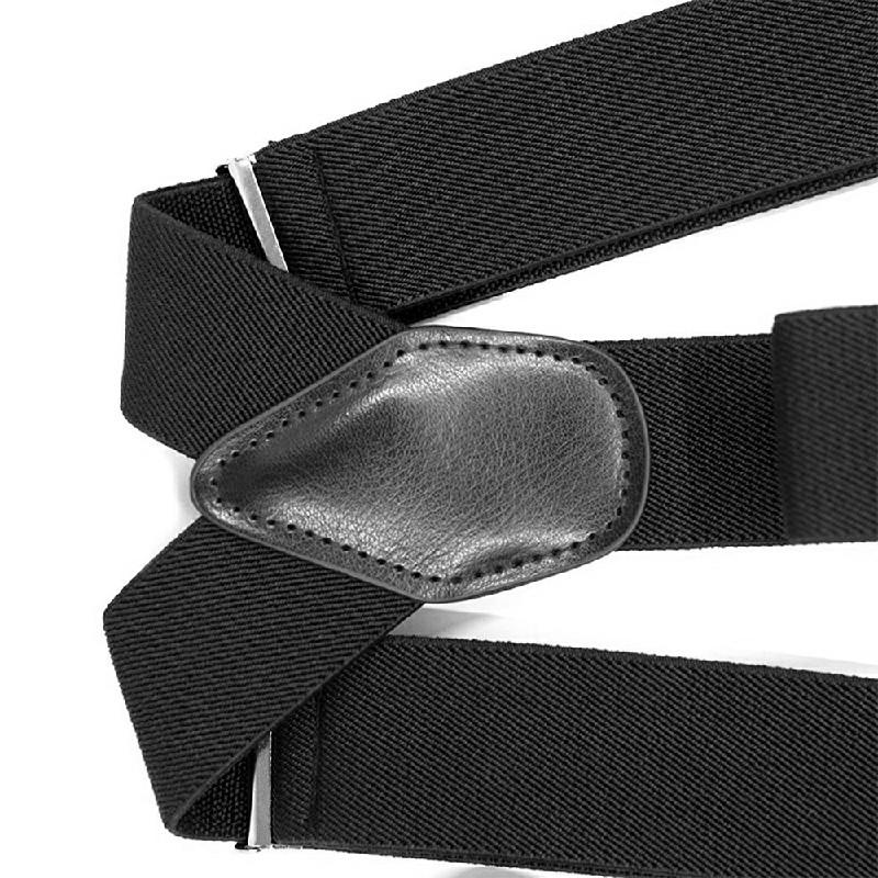 Youth Adjustable Trouser Belt Suspender Leather Button Braces - Black