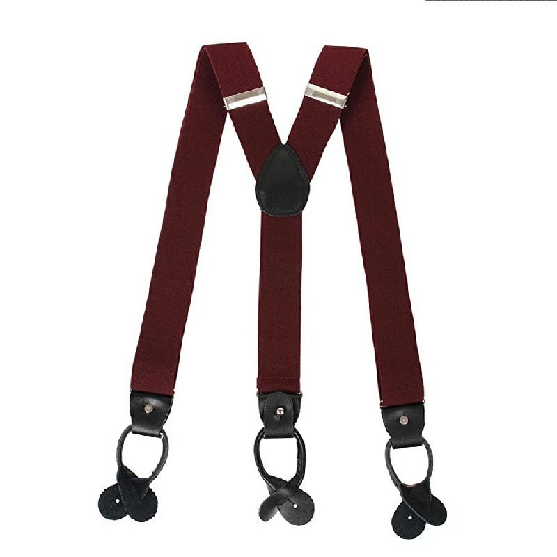 Youth Adjustable Heavy Duty Trouser Belt Suspender Elastic Metal Button Braces - Wine Red