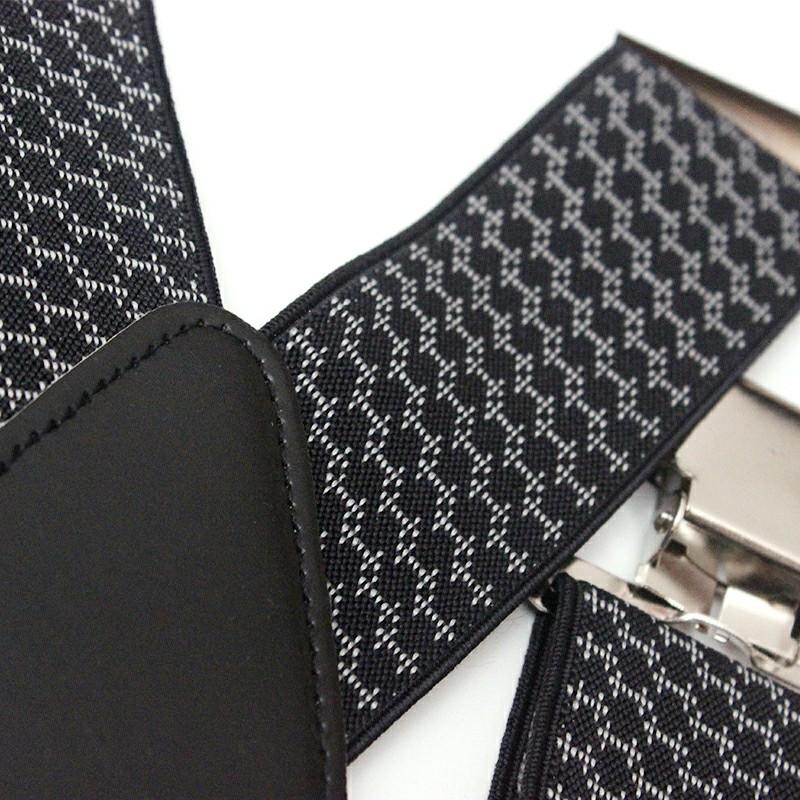 Jacquard 50mm Wide Heavy Duty Suspenders Adjustable Unisex Trousers - Black