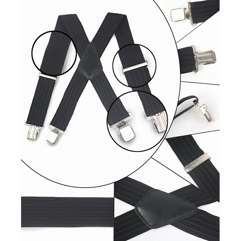 Black Stripes 50mm Wide Heavy Duty Suspenders Adjustable Unisex Trousers - Black