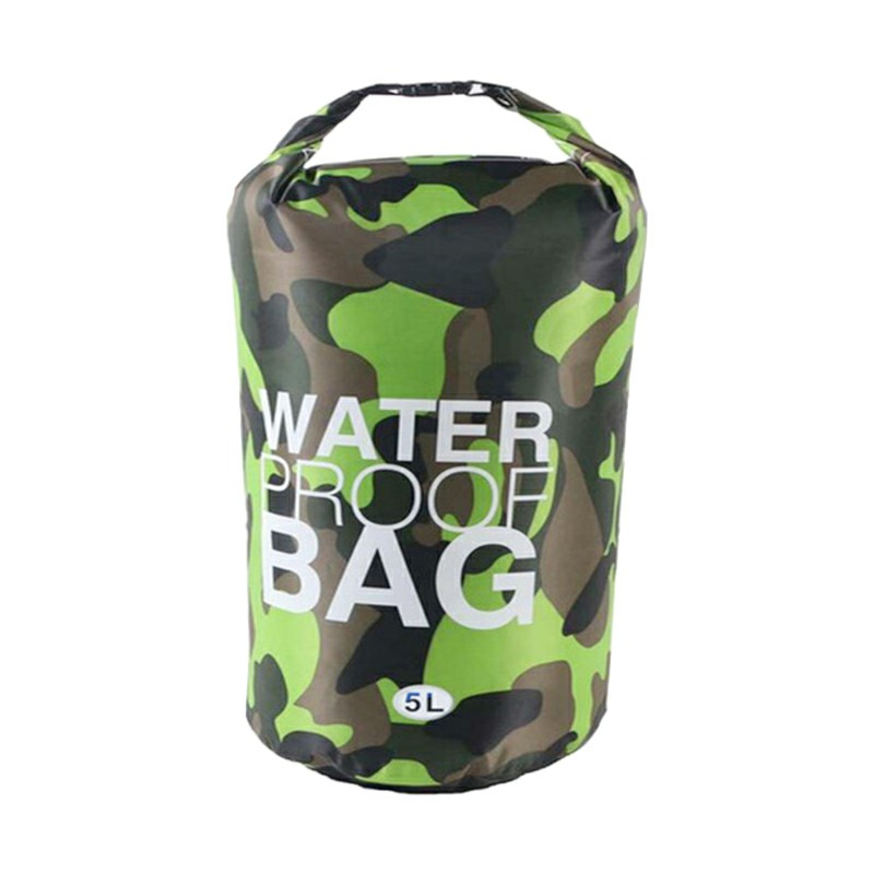 5L Waterproof Dry Bag Ultralight Camouflage Outdoor Pouch Organizer for Drifting Swimming Camping - Green