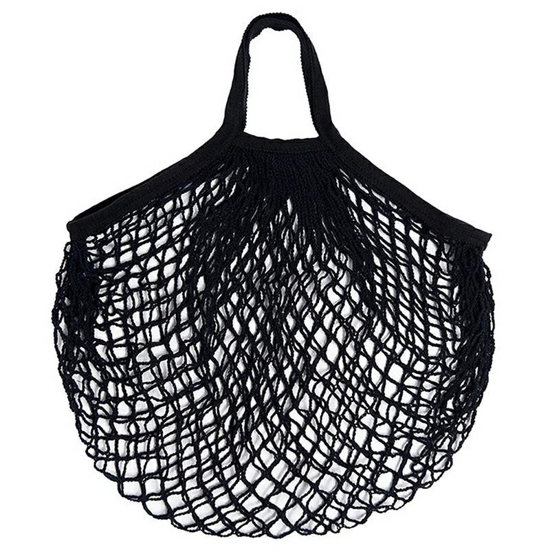 Reusable Mesh Net Turtle Bag Braided Shopping Fruit Storage Handbag Totes - Black