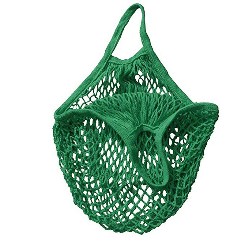 Reusable Mesh Net Turtle Bag Braided Shopping Fruit Storage Handbag Totes - Green