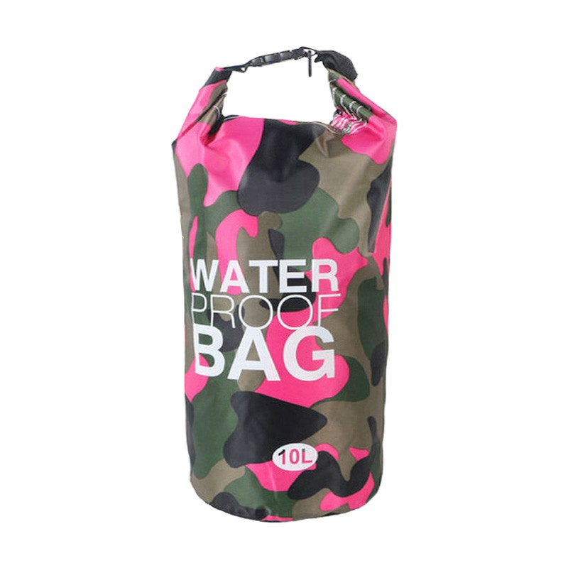 10L Camouflage PVC Waterproof Dry Bag Pouch Backpack Organizer for Outdoor Sports - Rose Red