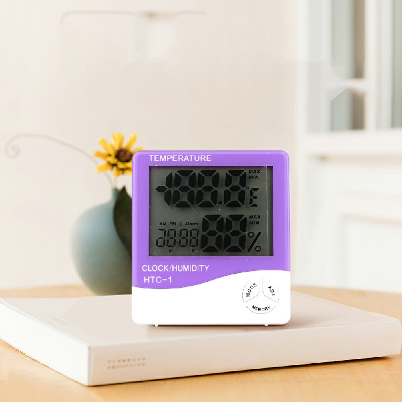 Digital Thermometer Humidity Meter Room Indoor Temperature LCD Clock Hygrometer - Purple