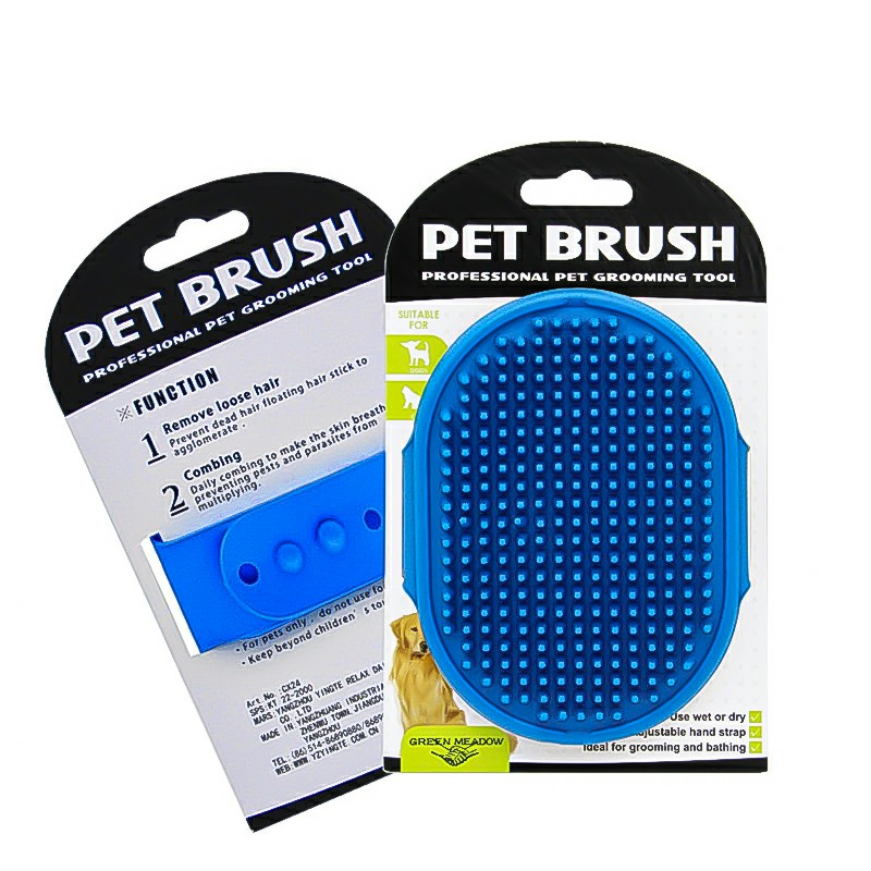 Pet Grooming Brush Cat Dog Detaining Massage Rubber Pad For Long and Short Hair - Blue