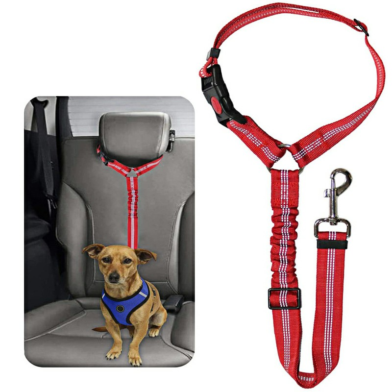 Headrest Anti Shock Pet Dog Car Seat Belt Bungee Lead Travel Safety Harness - Red