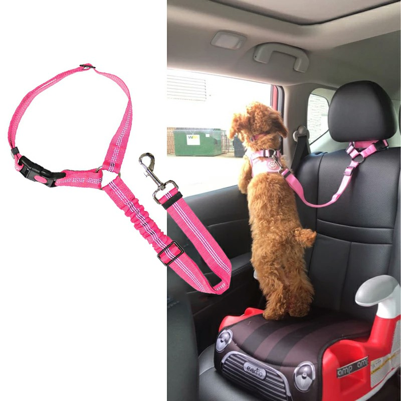Headrest Anti Shock Pet Dog Car Seat Belt Bungee Lead Travel Safety Harness - Pink