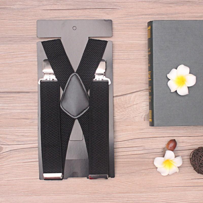 Mens 40mm High Elasticity Braces Fashion Trousers Suspenders - Black
