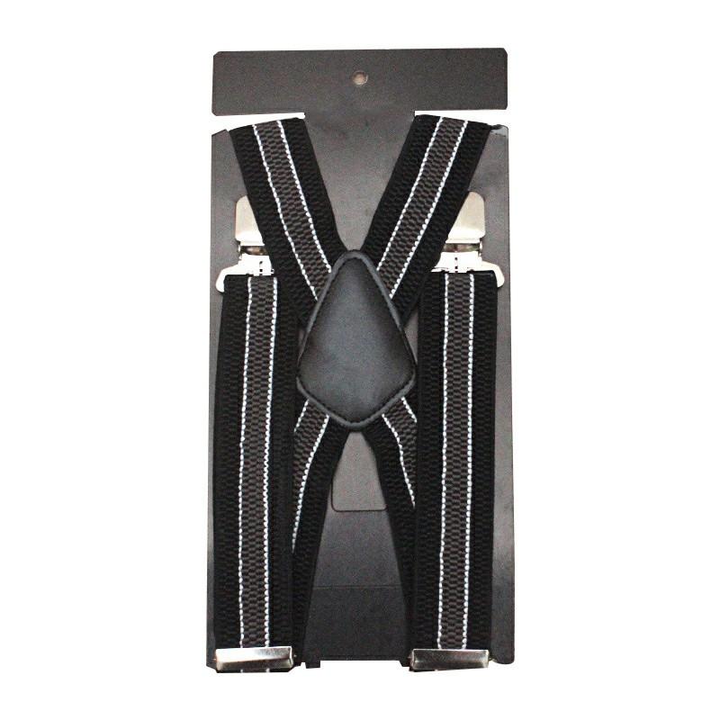 Mens 40mm High Elasticity Braces Fashion Trousers Suspenders - Grey Stripes