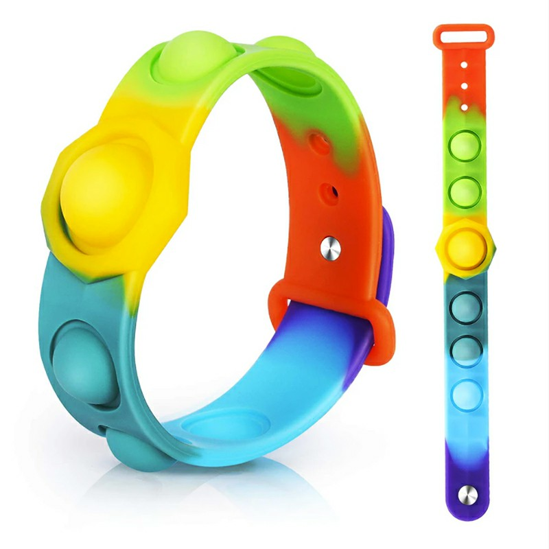 Simple Dimple Push Bubble Fidget Bracelet Portable Sensory Product Stress Relief - Rainbow