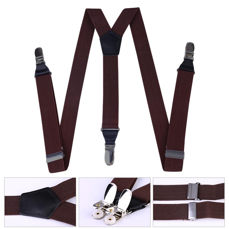 25mm Wide Heavy Duty Suspenders Adjustable Unisex Trousers - Dark Brown