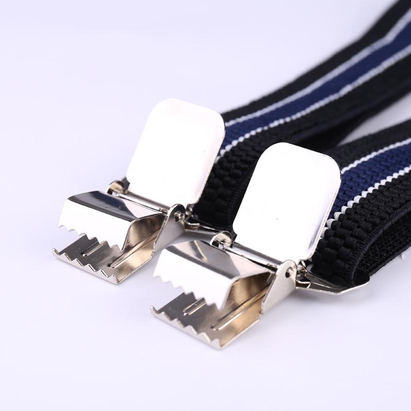 Mens 40mm High Elasticity Braces Fashion Trousers Suspenders - Navy Blue Stripes