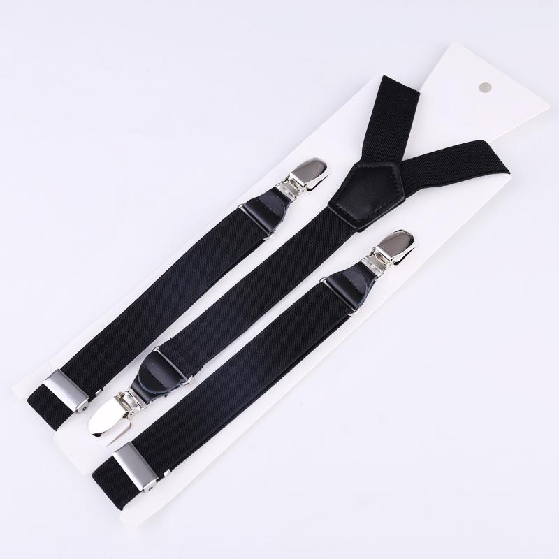 25mm Wide Heavy Duty Suspenders Adjustable Unisex Trousers - Black
