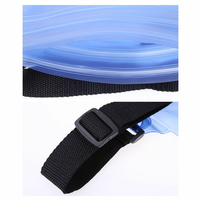 Large Waterproof Dry Pouch Bag Case with Waist Strap for Sports Swimming Beach - Blue