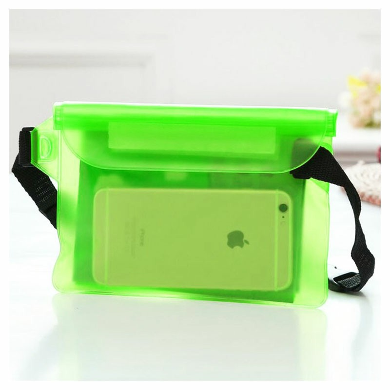Large Waterproof Dry Pouch Bag Case with Waist Strap for Sports Swimming Beach - Green