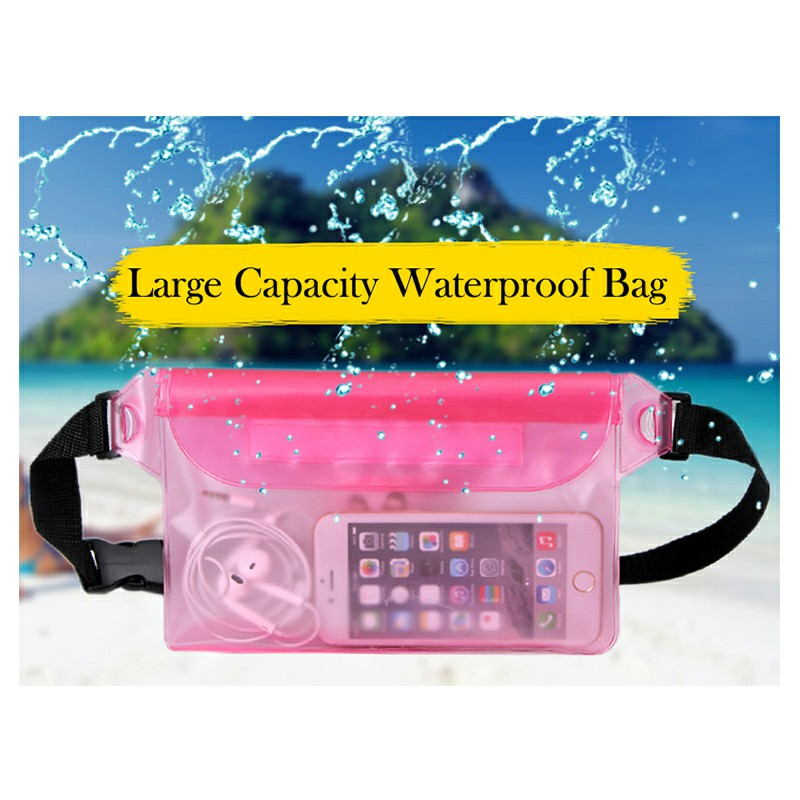 Large Waterproof Dry Pouch Bag Case with Waist Strap for Sports Swimming Beach - Pink