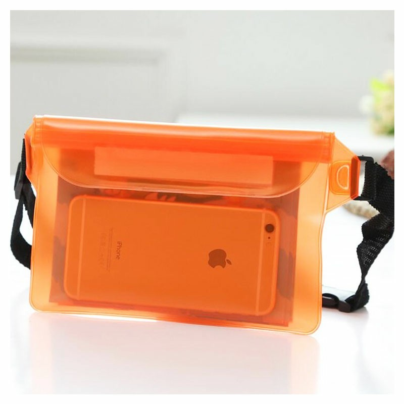 Large Waterproof Dry Pouch Bag Case with Waist Strap for Sports Swimming Beach - Orange