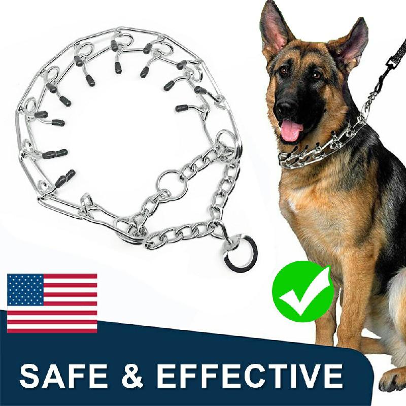 Metal Steel Chain Dog Training Prong Pinch Adjustable Choke Spike Collar - 3.5mmx55cm