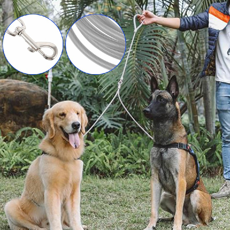 Pet Dog Puppy Garden Camping Outdoor Tie Out Lead Leash Extension Wire Cable - 5mmx5m