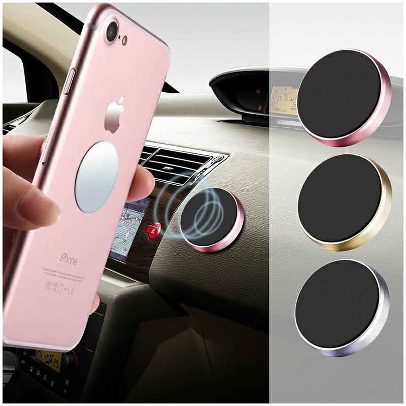 Magnetic Metal Car Dashboard Mount Universal Phone GPS Holder Stand - Rose Golden