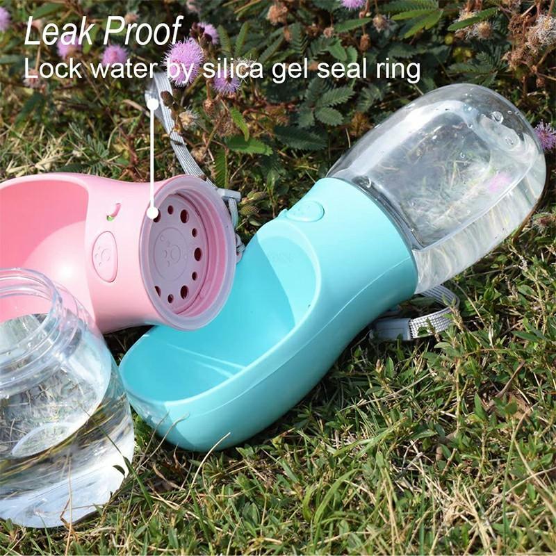 350ml Portable PET Dogs Cats Water Bottle Lightweight Feeder - Pink