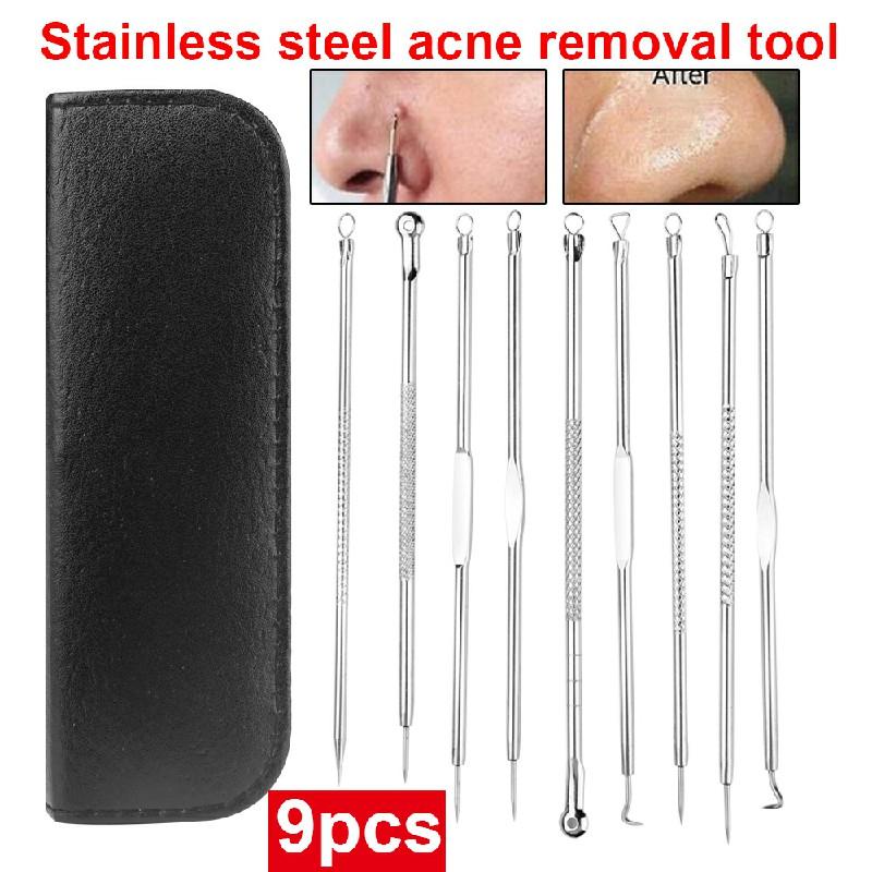 9 pcs Pimple Popper Tool Blackhead Remover Kit Extractor Comedone Acne Spot