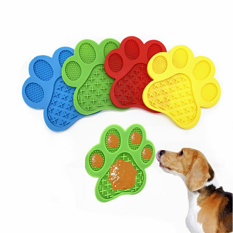 Non-Slip Silicone Dog Lick Pad Pet Food Feeder Bowl Puppy Cat Lick Mat Healthy - Red