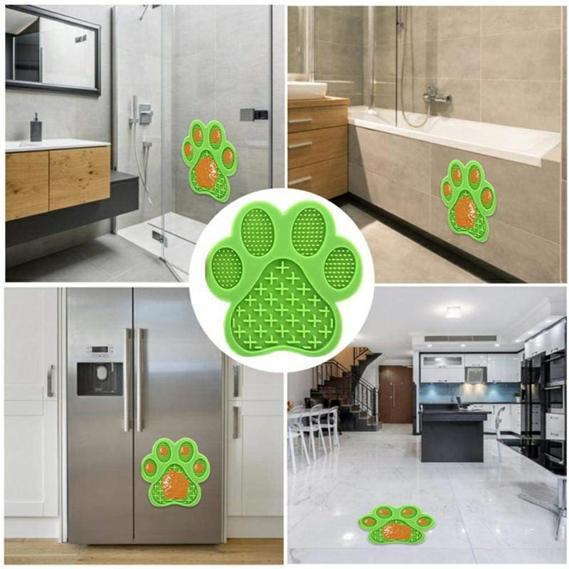 Non-Slip Silicone Dog Lick Pad Pet Food Feeder Bowl Puppy Cat Lick Mat Healthy - Green