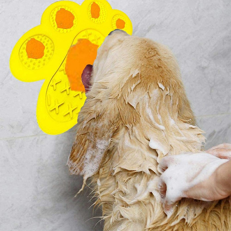 Non-Slip Silicone Dog Lick Pad Pet Food Feeder Bowl Puppy Cat Lick Mat Healthy - Yellow