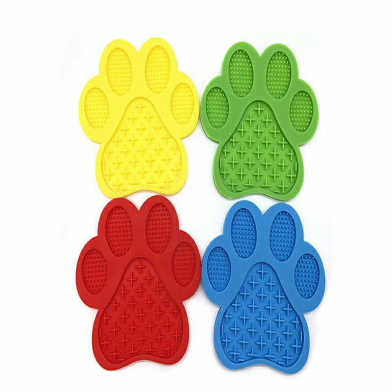 Non-Slip Silicone Dog Lick Pad Pet Food Feeder Bowl Puppy Cat Lick Mat Healthy - Blue