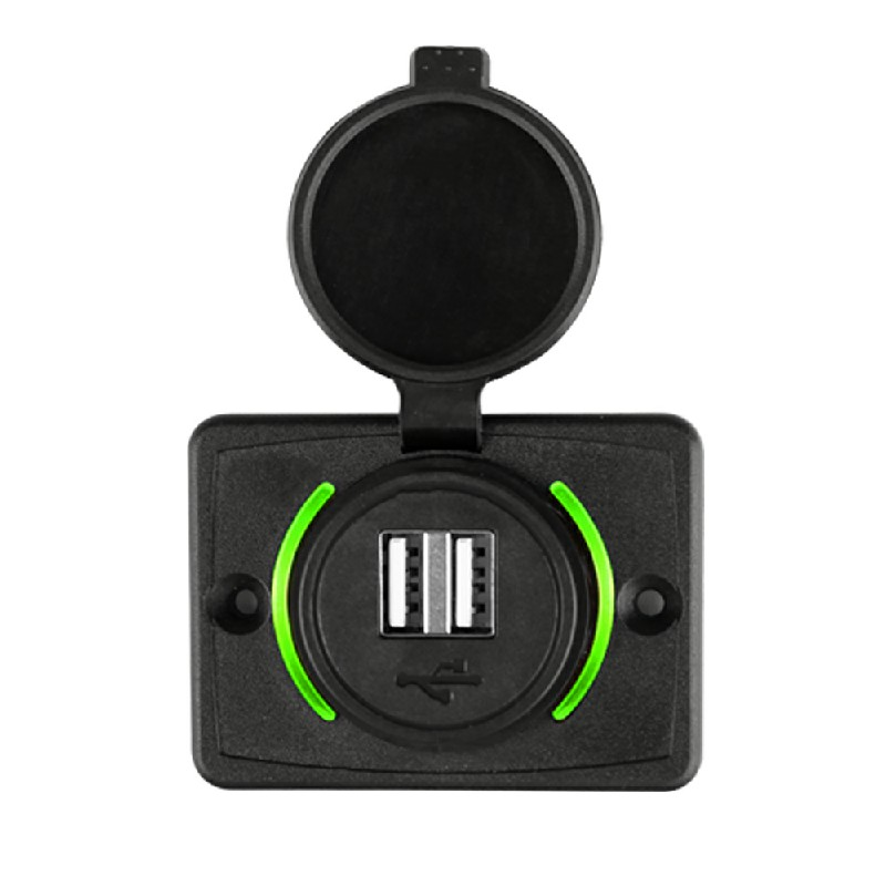 3.1A Dual USB Car Charger Adapter Power Socket Charging Panel Mount - Green
