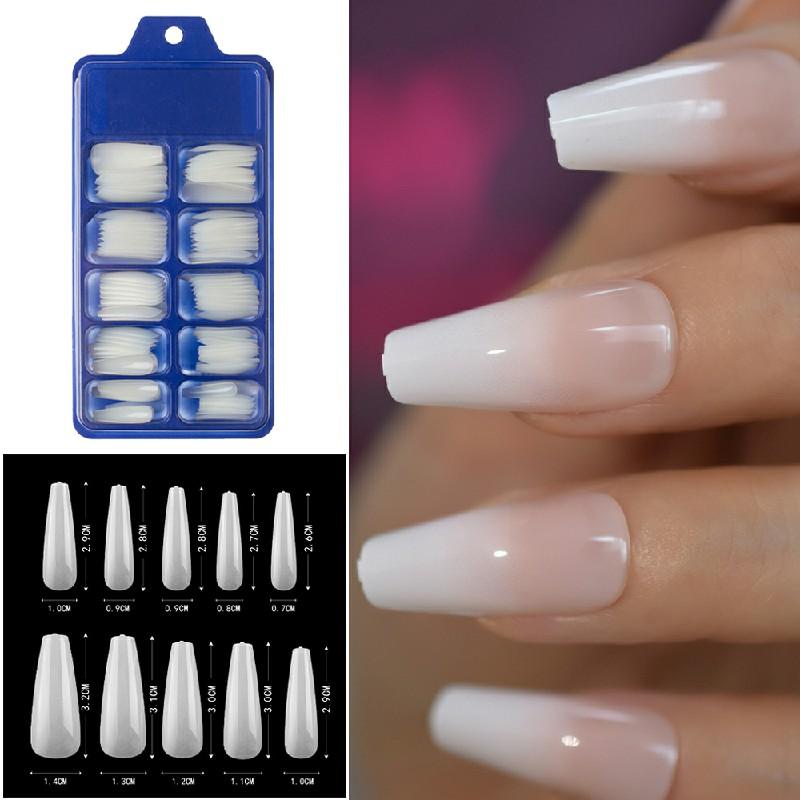 Long Fake Nails Acrylic Artificial False Nail Tips Stick on Full Nail 100 pcs - Beige