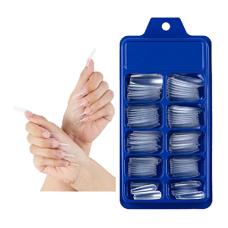Long Fake Nails Acrylic Artificial False Nail Tips Stick on Full Nail 100 pcs - Clear