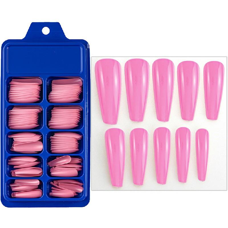 Long Fake Nails Acrylic Artificial False Nail Tips Stick on Full Nail 100 pcs - Peach