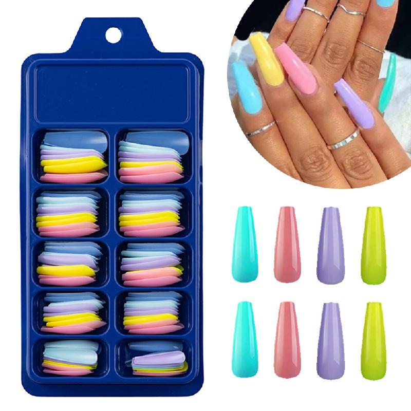 Long Fake Nails Acrylic Artificial False Nail Tips Stick on Full Nail 100 pcs - Combination A